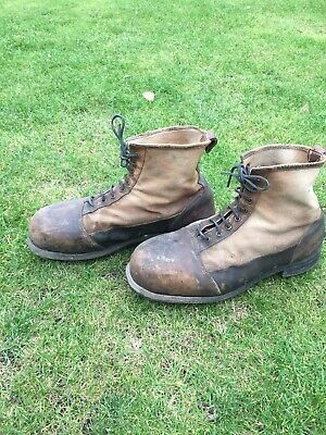 Vintage Hardy Leather & Canvas Fishing Brogues Boots • 100£