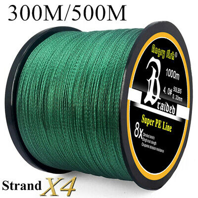 Super Strong PE Braided Fishing Line 4 Strands 300/500M 12-100LB Fishing Line UK • 11.38£