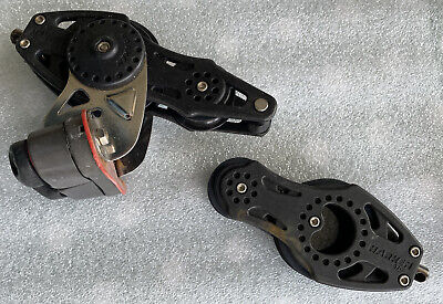 Pair Of Harken 57mm Ball Bearing Fiddle Blocks, One With Adjustable Cam & Becket • 20£