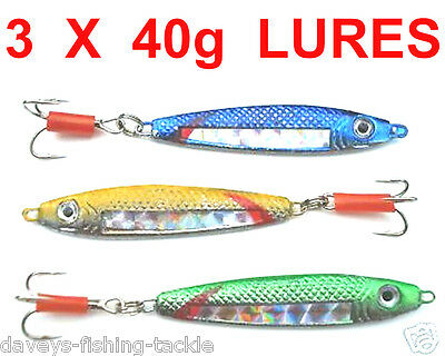 3 MIXED 40g STAVENGER SPINNERS SEA FISHING SPINNING ROD LURES BASS,PIKE,MACKEREL • 7£