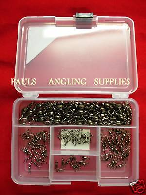 150 Coarse Carp Assorted Fishing Swivels In Tackle Box  • 15.15£