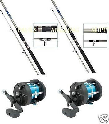 2 X  Shakespeare BETA 7ft Boat Rods And Multiplier Reel With Line  • 91.45£