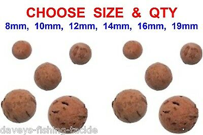 CARP FISHING CORK BALL 8mm 10mm 12mm 14mm 16mm 19mm IN 5 10 15 20 25 30 50 100 • 8.90£
