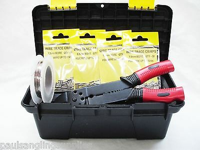 Fishing Crimping Set In Carry Box 200 Assorted Crimps Pliers Wire Trace For Rigs • 29.16£