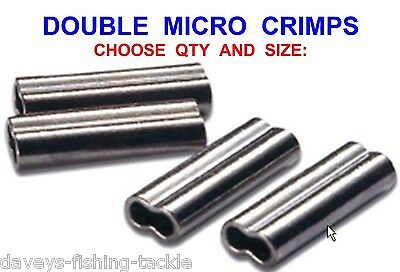 Double Micro Crimps Coarse Sea Fishing Mini Line Mono Braid Wire Trace Sleeves • 3.80£