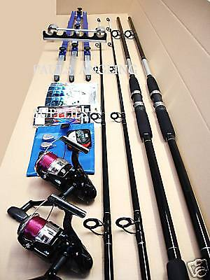Sea Fishing Beachcaster Kit 2 Rod 2 Reel Tripod Tackle  • 126.72£