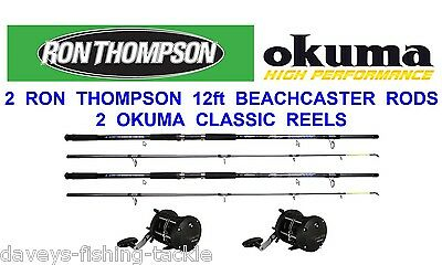 2 RON THOMPSON 12 FT BEACHCASTER RODS+OKUMA CLASSIC CLX 300La MULTIPLIER REELS • 99.99£