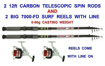 2 CARBON 12ft TELESCOPIC RODS+FD70 REELS SEA COARSE FISHING SPINNING PIKE BASS • 59.95£