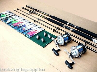 2 X Shakespeare SEA Boat Fishing Rods J500 Reels All Tackle Needed To Fish Kit • 103.94£