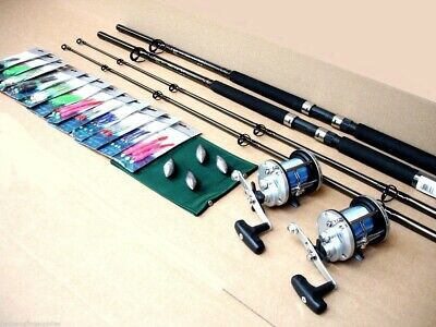 2 X Shakespeare Boat Fishing  Rods Lineaeffe JD500 Reels All Tackle To Fish Kit • 103.94£