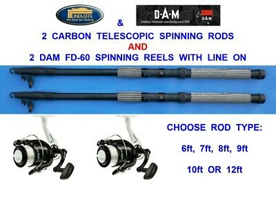 2 Lineaeffe Telescopic Carbon Rods+sol Reels Sea Coarse Fishing 6,7,8,9,10,12 Ft • 42.99£