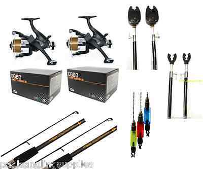 Stalker 9 Ft  Carp Fishing Set 2 Rods Reels Alarms Rests Banksticks Ind • 79.98£