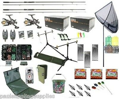 Shakespeare Full Carp Fishing Set Up Kit Rods Reels Alarms Bait Tackle Mat   • 228.46£