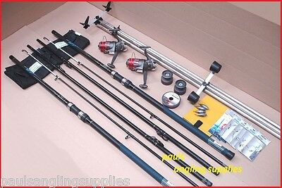 Blue Ocean 14 Ft Sea Fishing Beach Beachcasting Rods Reels Tripod Tackle Kit Set • 124.86£