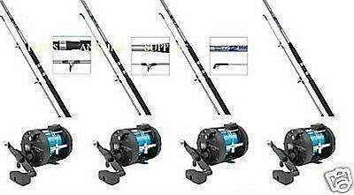 4 Shakespeare Sea Fishing Boat Rods With  Multiplier Reels • 151.81£