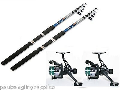 TFT 2 X 8 Ft Telescopic Travel Fishing Rods + TZ Fishing Reels With Line  • 27.95£