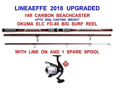 SEA FISHING SET 14ft LINEAEFFE CARBON BEACHCASTER ROD+OKUMA ELC 180 REEL+LINE • 69.89£
