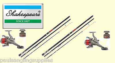 2 X Shakespeare Omni 13ft Beachcasting Fishing Rods & Linaeffe LN70 Reels & Line • 125.40£