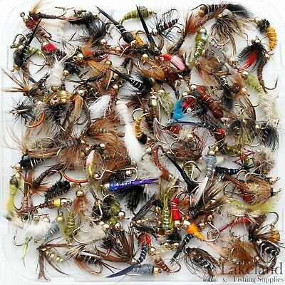Assorted Mixed Gold Head Nymphs Trout Flies Fly Fishing Size 8 10 12 14 16 18 • 5.49£