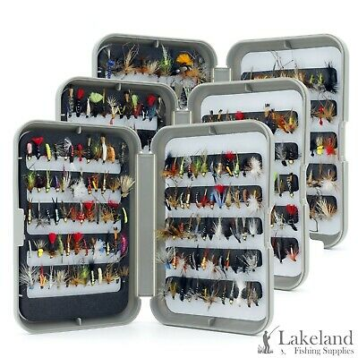 G Fly Box + Mixed Trout Fishing Flies Wet Dry Nymph Buzzers Size 8 10 12 14 16 • 12.49£