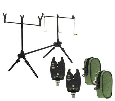 Carp Fishing Rod Pod , Alarms , Swingers ,Bite Alarms, 3 Rod Rests & Bag  • 34.95£