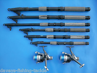 2 CARBON TELESCOPIC RODS+SHIVER REELS 6,7,8,9,10,12 Ft SPINNING TRAVEL PIKE BASS • 33.99£