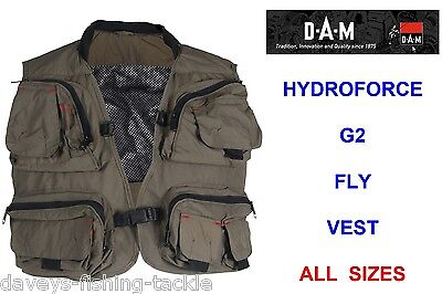 Dam Hydroforce G2 Fly Vest For Trout Salmon Fly Rod Reel Fishing Wading Jacket • 33.50£
