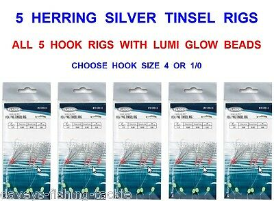 5 Herring Silver Tinsel Rigs Sea Fishing Mackerel 5 Hook Glitter Feather Lures • 5.95£