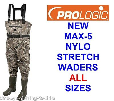 Prologic Max-5 Nylo Stretch Chest Waders Camo Carp Fishing Hunting Wild Fowling • 73.50£