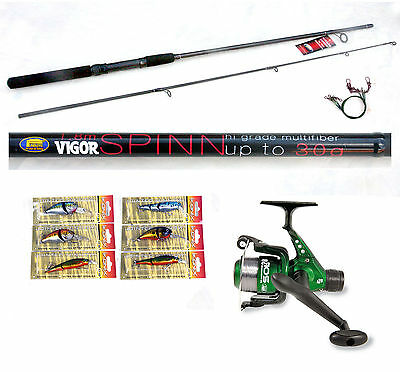 Vigor Canal  6ft Spin Spinning Fishing Rod  & Sol Reel  6 Lures / Plugs  • 27.90£