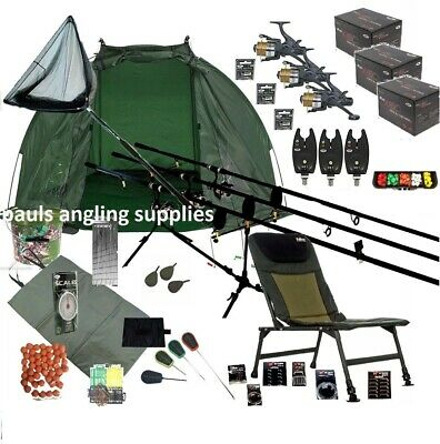 3 Rod Mega Carp Fishing Set Up Kit Rods Reels Chair  TACKLE PACK Net Bait   • 192.34£