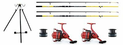 2 Sea Fishing Lineaeffe 12ft  Beachcaster Rods & 2 Ocean Reels + Line & Tripod • 107.93£