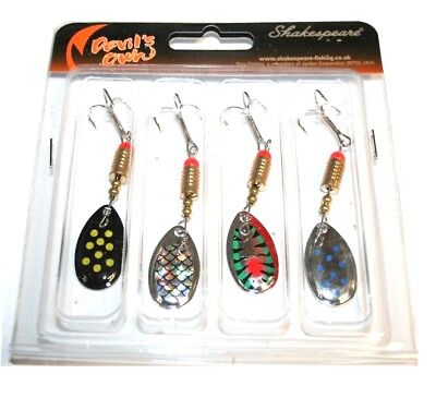 4 X Shakespeare Spinners Spinner Selection  Pike Trout Bass Spoons  • 8.24£