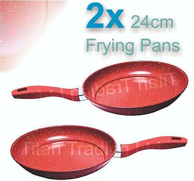 2x - 24cm Marble Coated Non Stick Red Frying Pan Forged Cooking Frypan  • 14.99£
