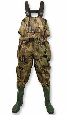 Michigan Camouflage Nylon Fly Coarse Fishing Chest Waders With Belt – Size 6-12 • 19.95£
