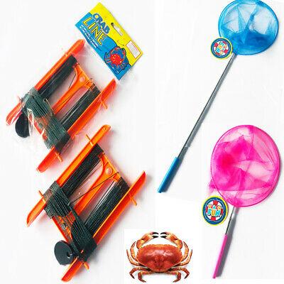 LARGE (Not Mini) Crab Lines With Bait Hook OR Net & Crab Beach Landing Net Sets • 2.99£