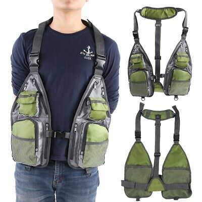 Breathable Mesh Fishing Vest Multi-pocket Quick-Dry Fly Vest Jacket Outdoor • 17.43£