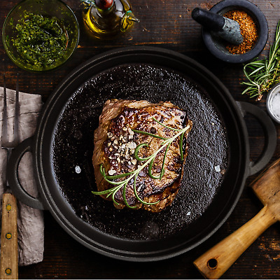 Cast Iron Frying Pan Cookware Backing Pot Skillet Grill Wood Serving Board • 14.99£