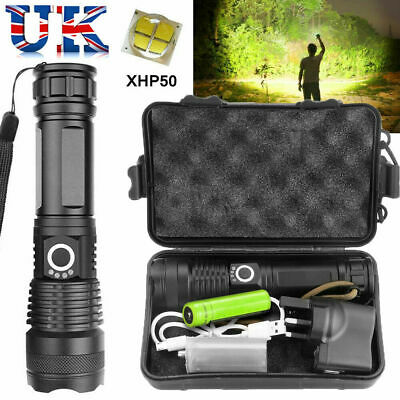 High Power XHP50 Zoom Flashlight LED Rechargeable Torch Headlamp Waterproof UK • 13.99£