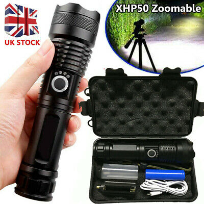 High Power 900000Lumens XHP50 Zoom Flashlight LED Rechargeable Torch Headlamp UK • 13.99£