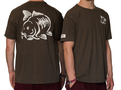 NGT Carpers Olive Green Carp Coarse Fishing T-Shirt With Carp Logo Front & Back • 8.95£