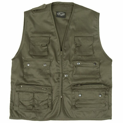 Mil-Tec Multi-Pocket Fishing Vest Hunting Shooting Camping Army Waistcoat Green • 23.13£