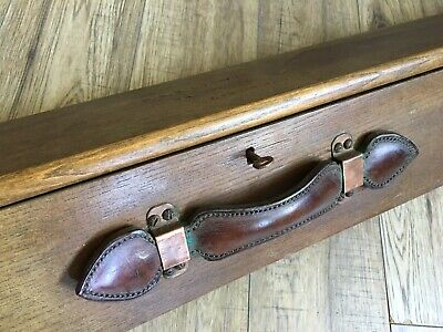 Rare Lincolnshire England Antique Wooden Fishing Box Leather Handle Lock And Key • 195£