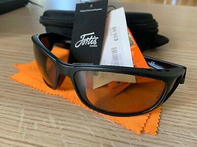 Fortis Wraps AM/PM Polaroid Glasses - Amber Lens New Without Box • 10.99£