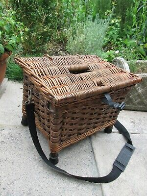 Vintage Wicker Cane Fishing Creel Storage Basket Seat Woven • 45£