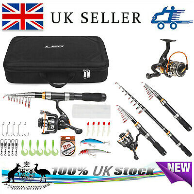 Fiberglass Telescopic Fishing Rod And Reel Combo Set Spinning Full Kit Line Lure • 23.99£