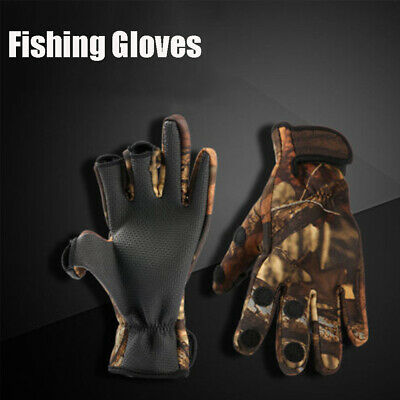 Neoprene Cloth Keep Warming 3 Finger Cut PU Leather Fishing Gloves Breathable • 5.03£