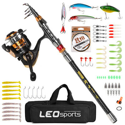 Carbon Fiber Telescopic Fishing Rod And Reel Set Combo Hooks Bait Lure Bag • 25.60£