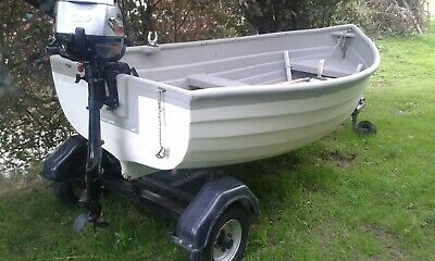 Dinghy, Launch, Fishing, Rowing Boat. With Trailer. • 425£