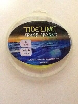 1 X 100 YRD SPOOL 15LB ( .33mm ) MASTERLINE TIDELINE TRACE LEADER LINE  • 1.59£